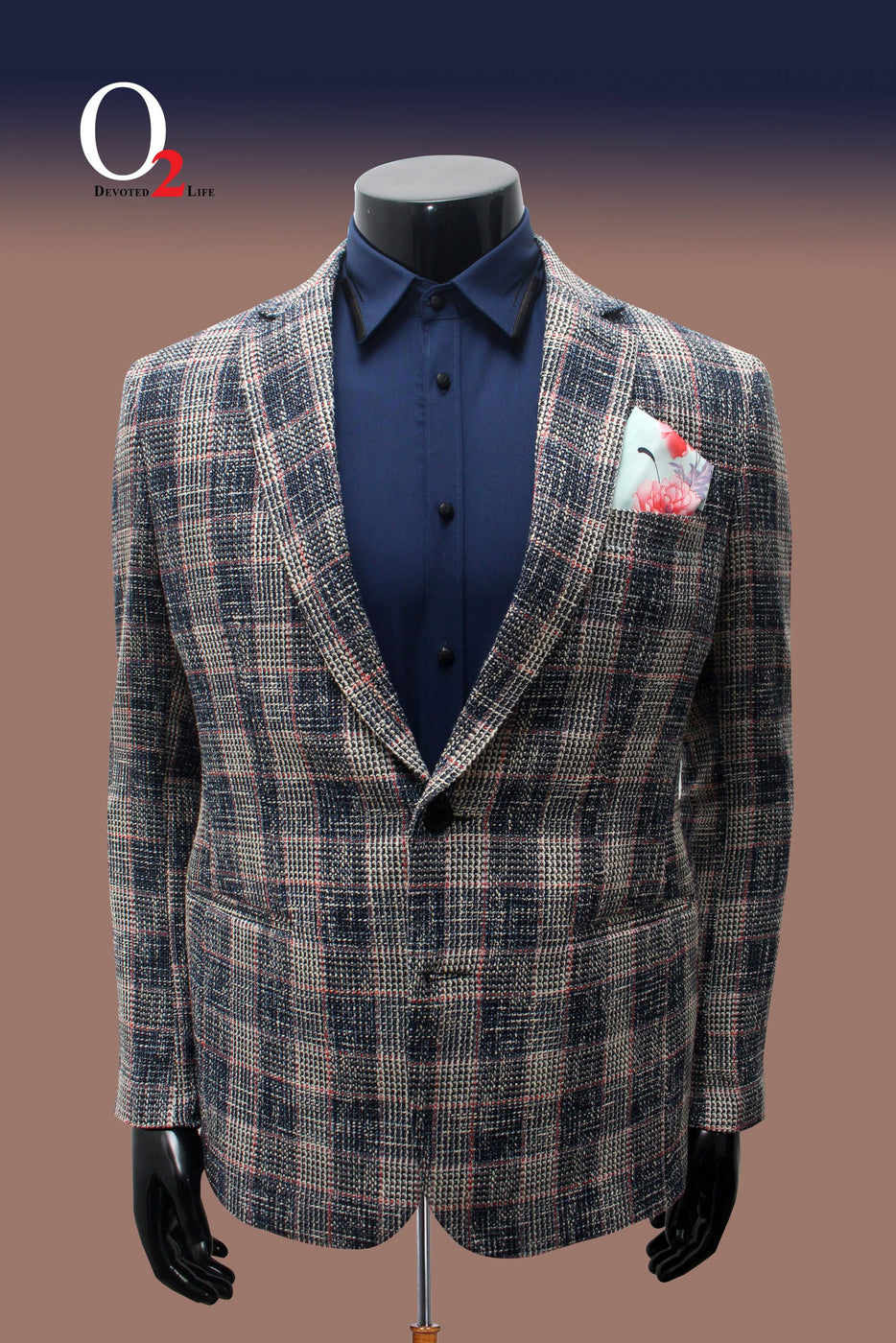 Cotton and Wool Blended Check Blazer