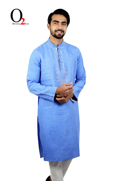 Sky Blue Hand Work LONG PANJABI