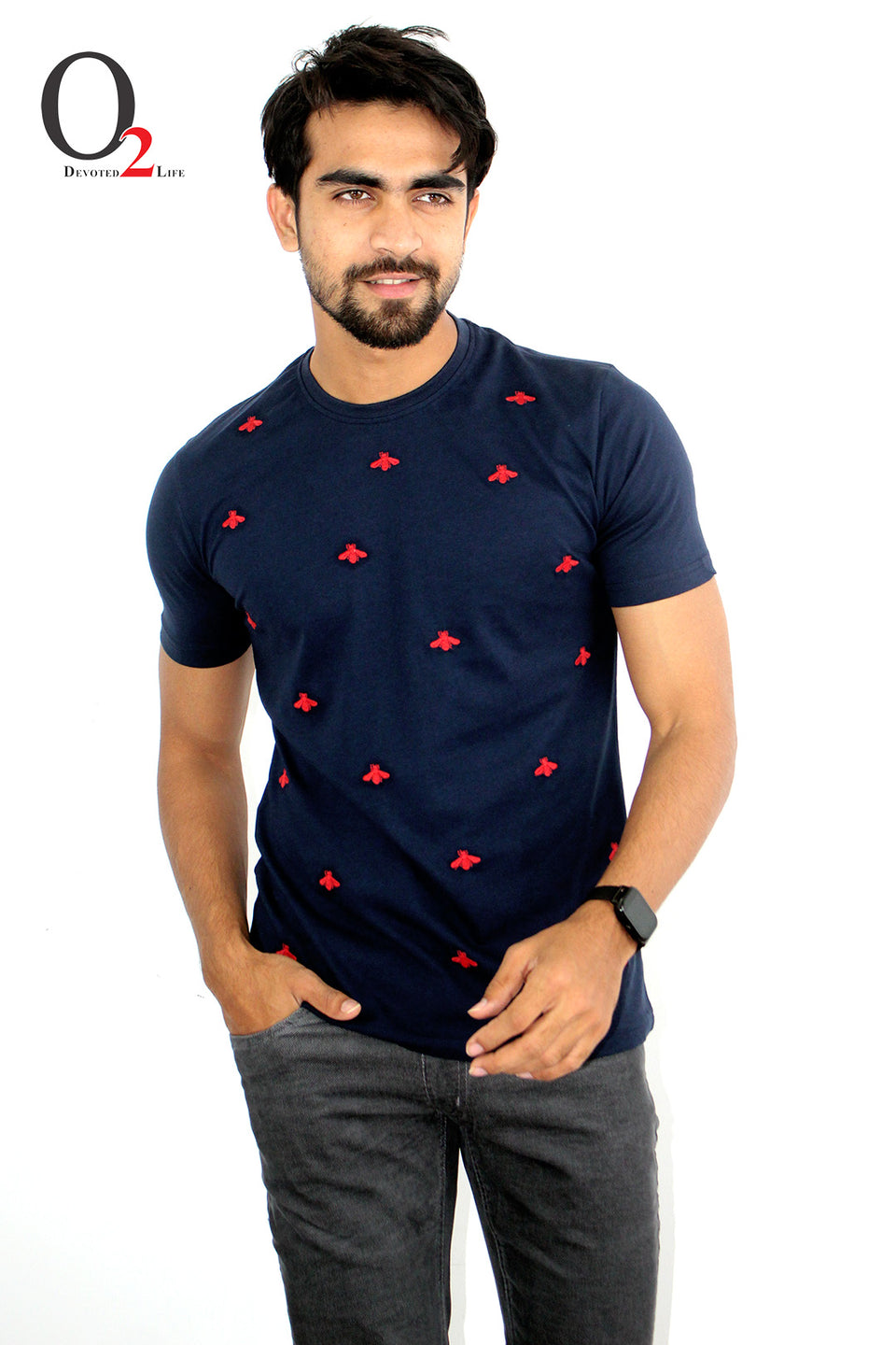 MEN'S EMBROIDERED T-SHIRT-Navy