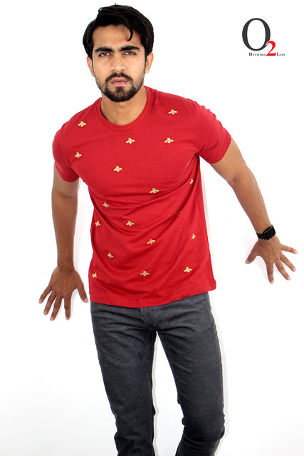 MEN'S EMBROIDERED T-SHIRT-RED