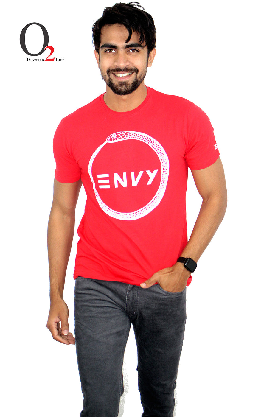 Men's Envy Printed Red T-Shirt