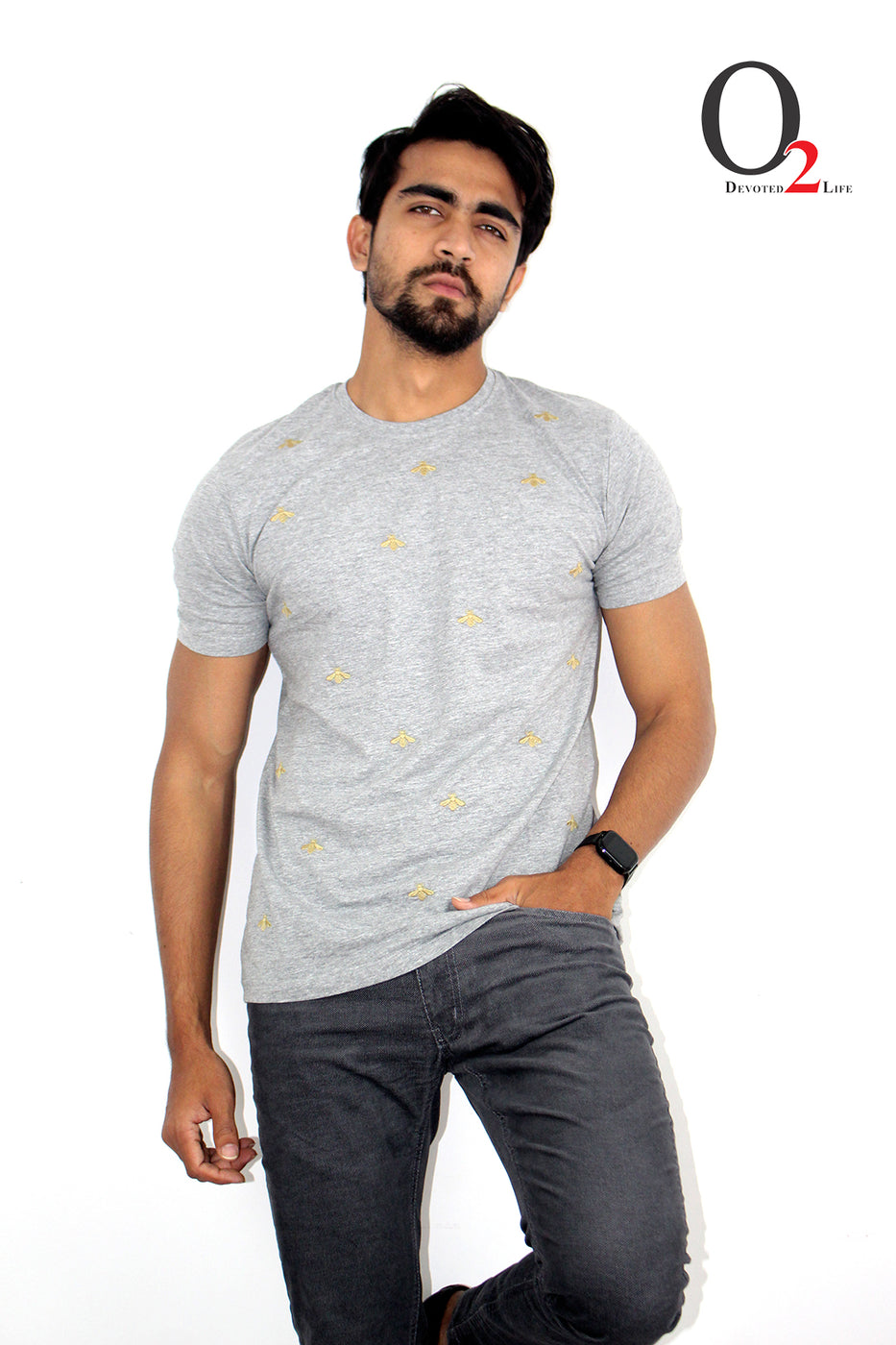 Men's Embroidered T-Shirt-Ash