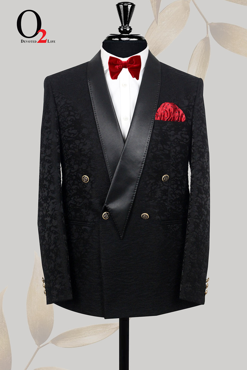 Black Jacquard Velvet Fabric Double Breasted Dinner Lapel Suit