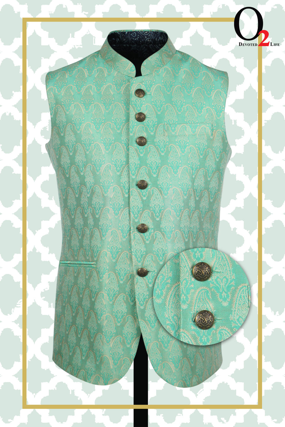 Jamawar Ethnic Vest In Parrot Green
