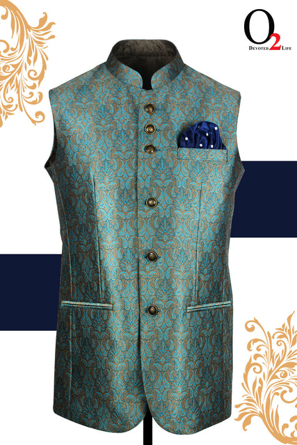 Jamawar Ethnic Vest In Golden Mermaid