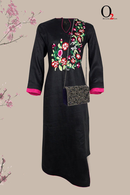 Asymmetric Long Embro Kurti