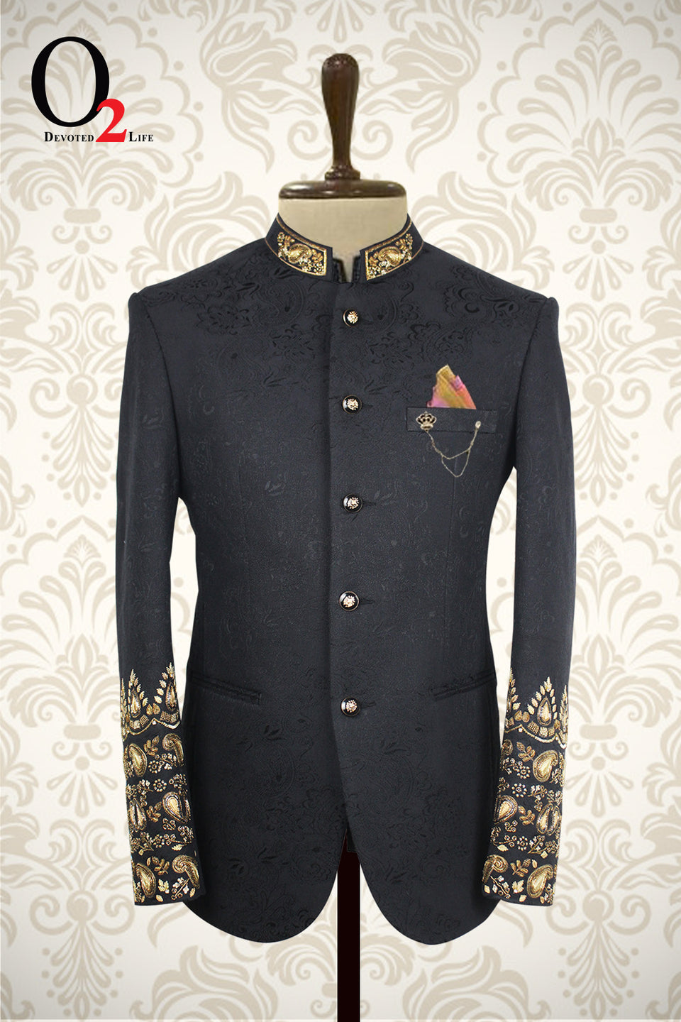 Zardozi black Prince Coat