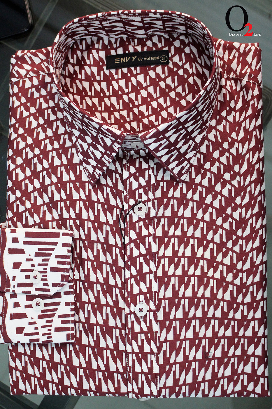 White Maroon Printed Full Sleeve Shirt