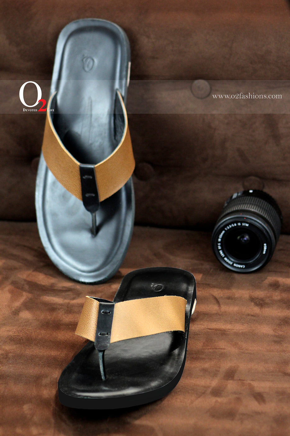 Black With Brown Belt Sandal