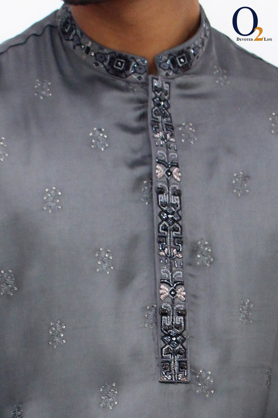 Cool Gray CF Zardozi Long Panjabi