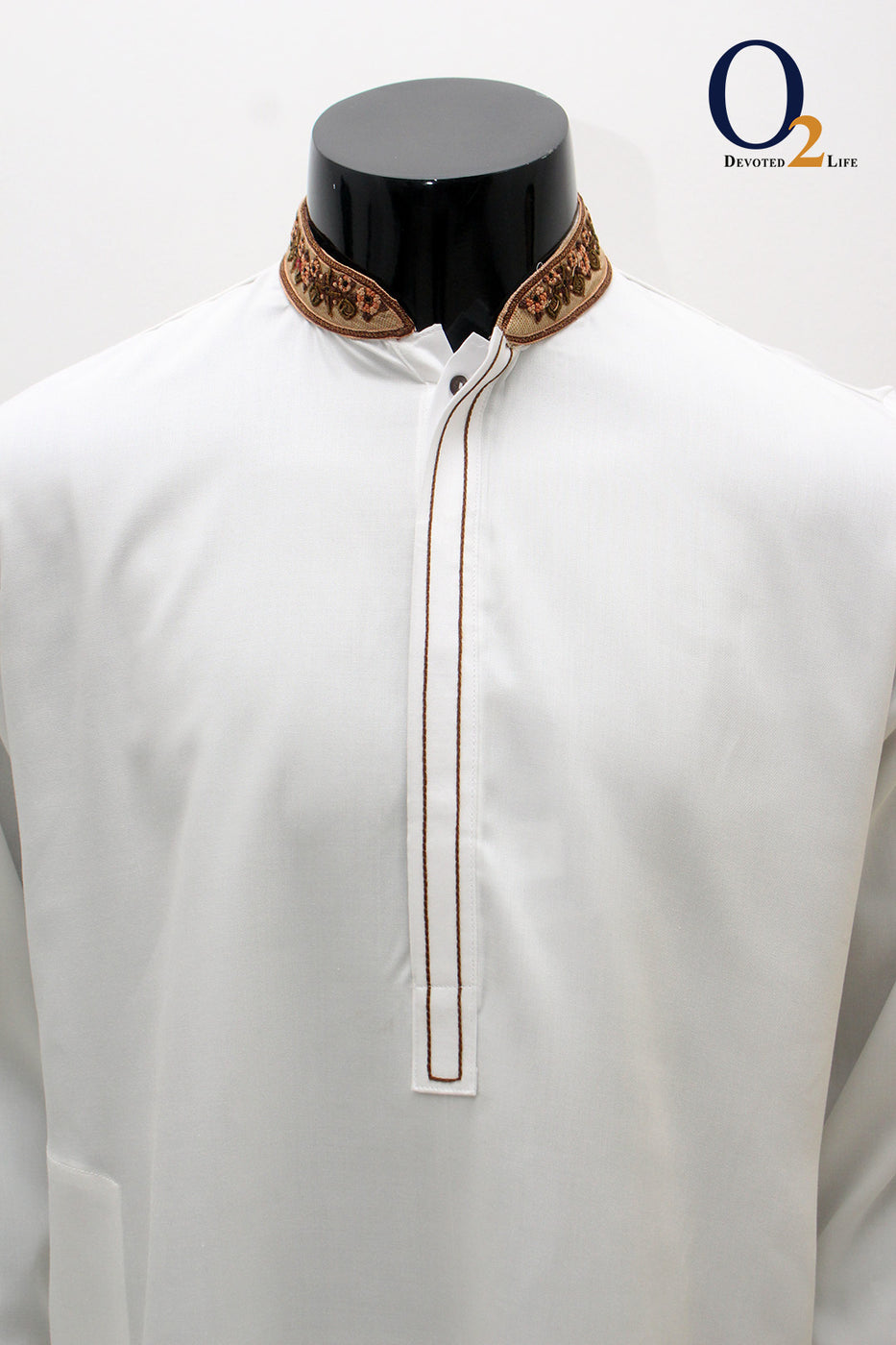 Premium White Zardozi Work Long Panjabi