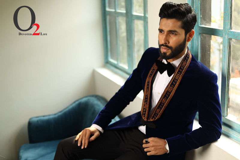 Navy Blue Embroidered Prince Suit