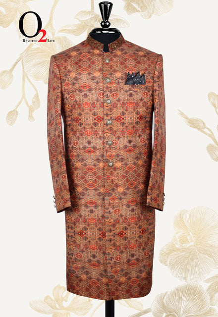 Burnt Orange Zardosi Indowestern Sherwani