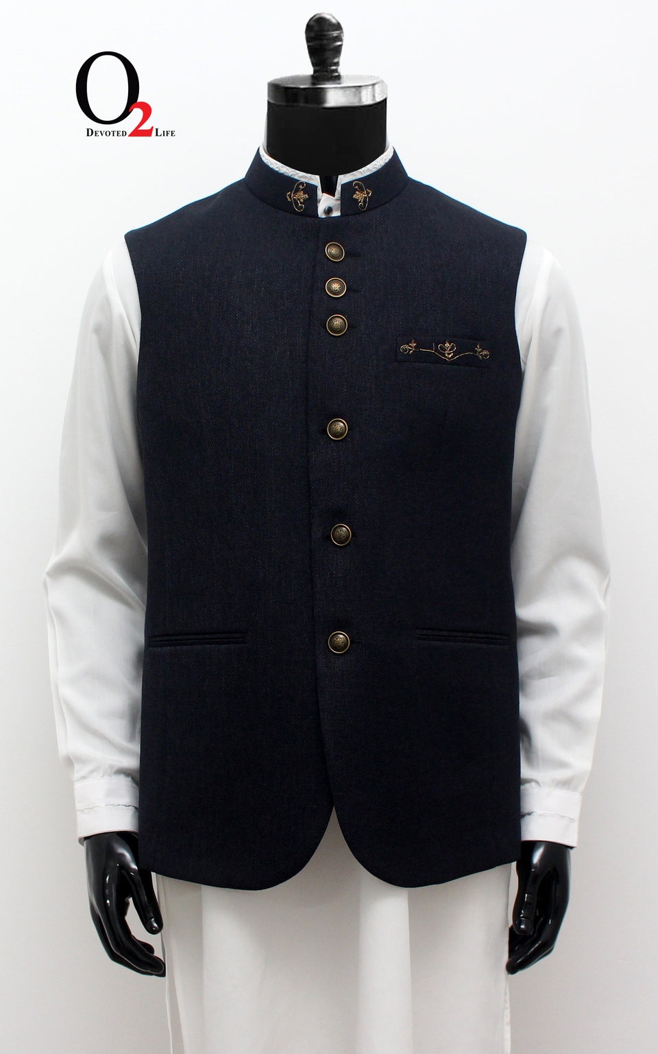 Navy Black Ethnic Vest