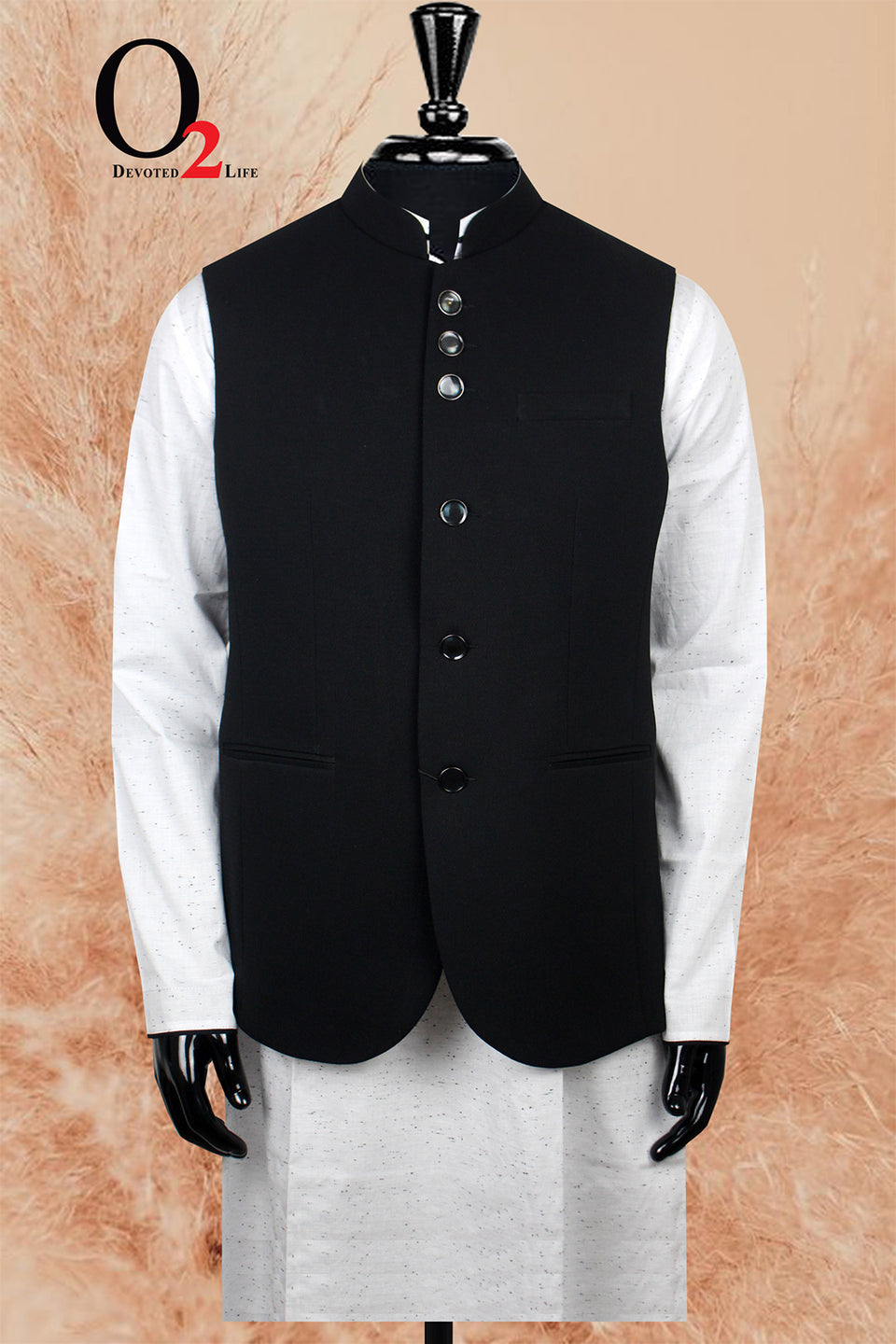 White Cotton Ekushe Panjabi with Mujib Black Vest