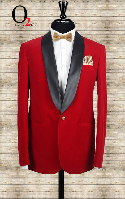 Red Dinner Blazer with Black Lapel