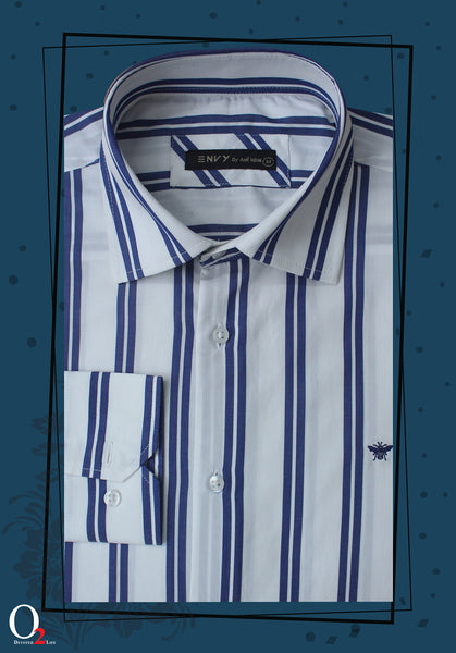 Mens White Blue Striped Shirt