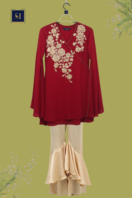 Indo Western Red Wine Tops Comes with Pant
