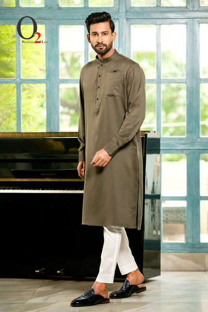 Shuttle Stitch premium linen  Classic fit Panjabi in olive