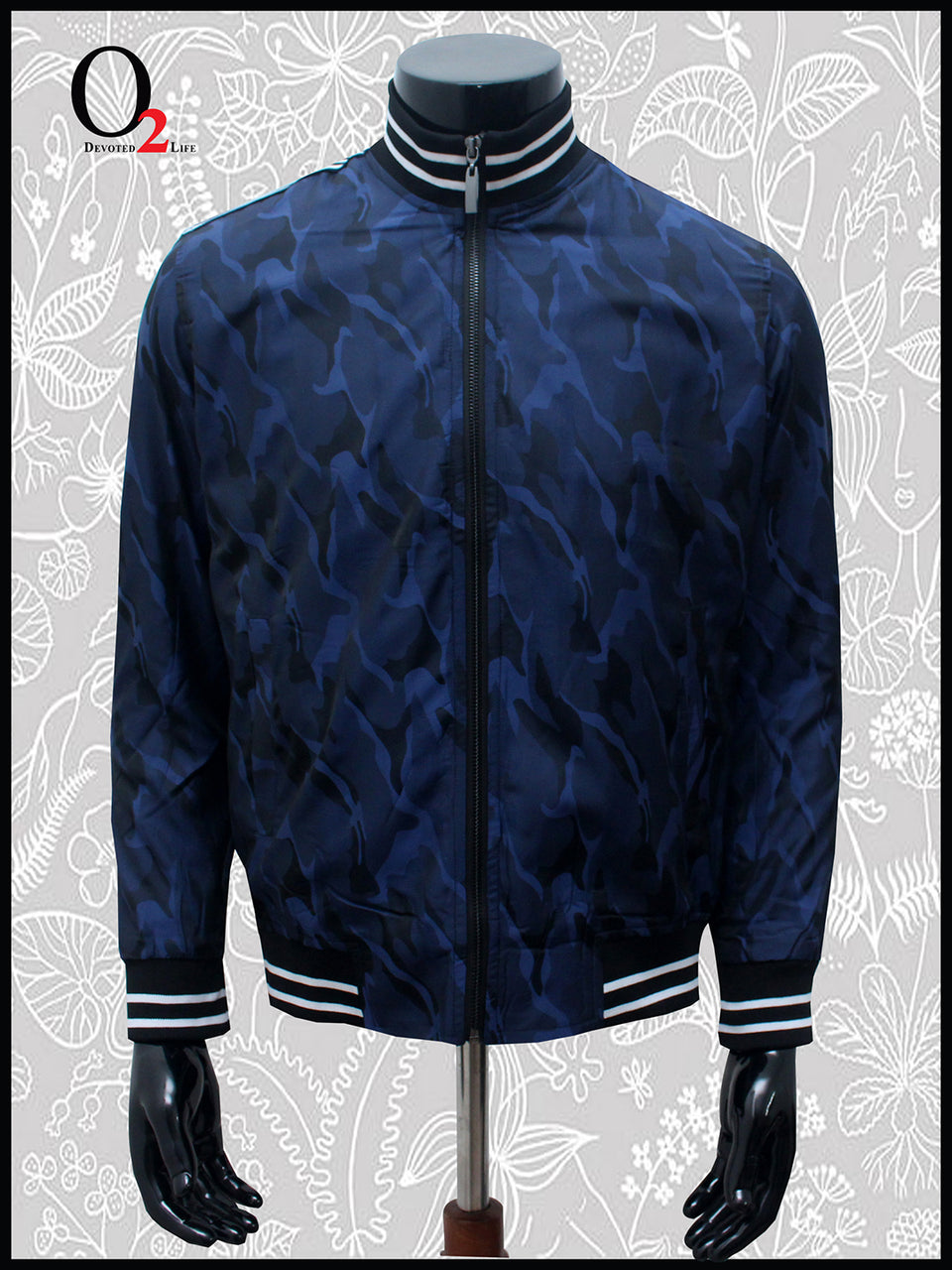 Blue Print Neck Jacket