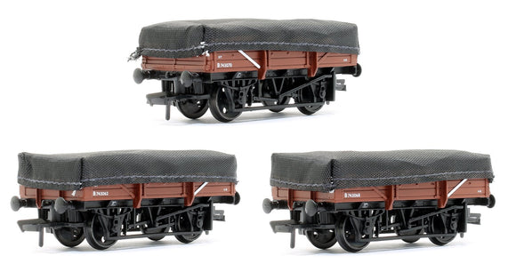 Bachmann 33-091 OO 5 Plank China Clay 3-Wagon Pack BR Bauxite (Early) With Tarpaulin Covers