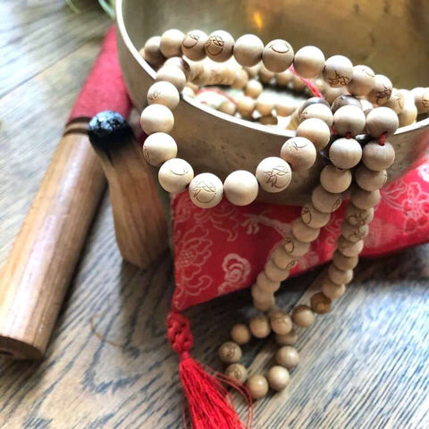Responsibly sourced yoga products sustainable sandalwood chanting stork