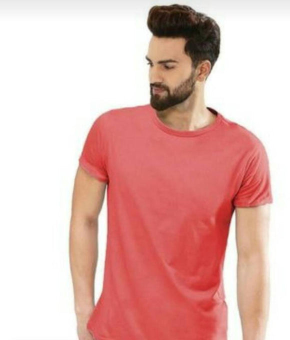 Men's Red Solid Cotton Round Neck Tees