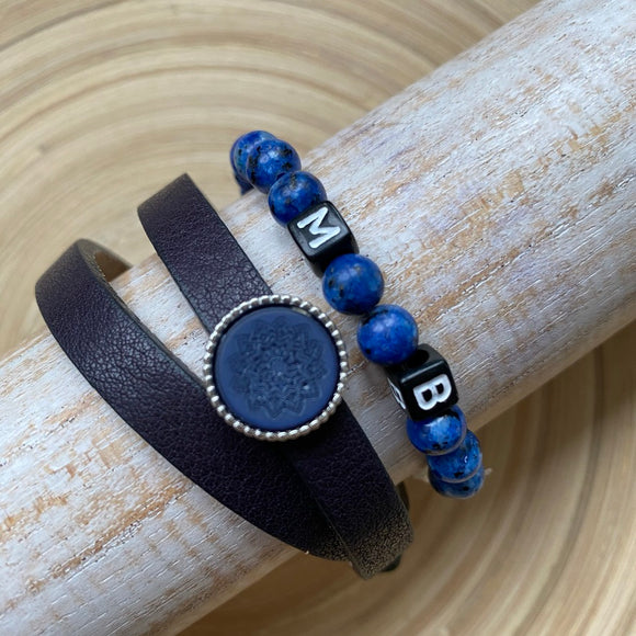 Dames armband navy blauw basis