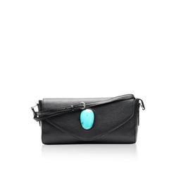 Queen Matilda Black Calf Skin Clutch with Turquoise