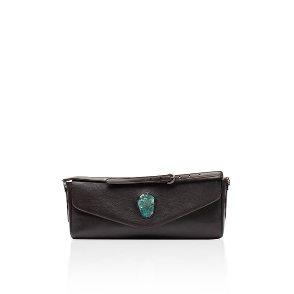 Queen Isabella Brown Bison Clutch with Chrysocolla Druzy