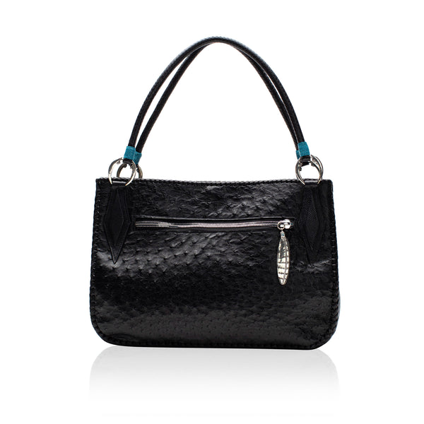Queen Camille Black Ostrich Tote with Mexican Turquoise