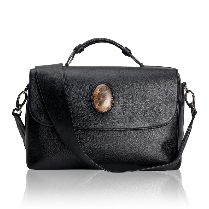 Briefcase with Black Calfskin and Pietersite Stone