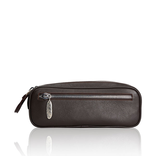 Double Zipper Brown Calfskin Dopp Kit