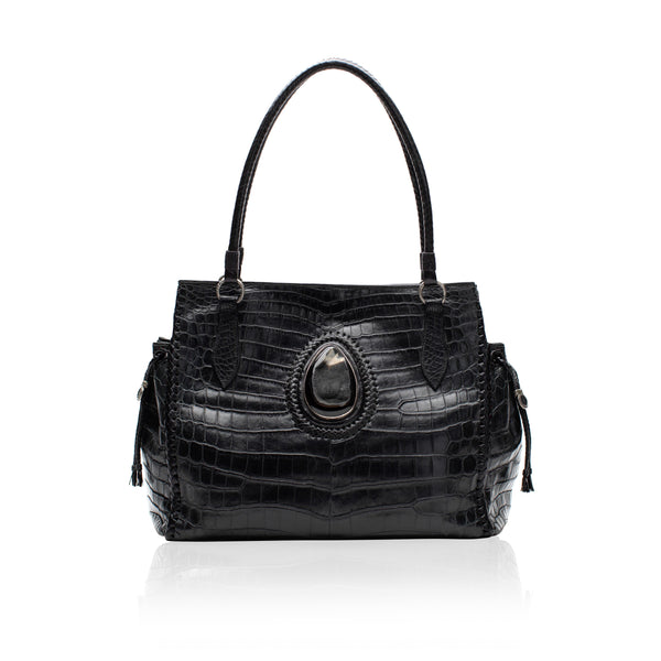 Queen Catherine Black Crocodile Tote with Black Druzy