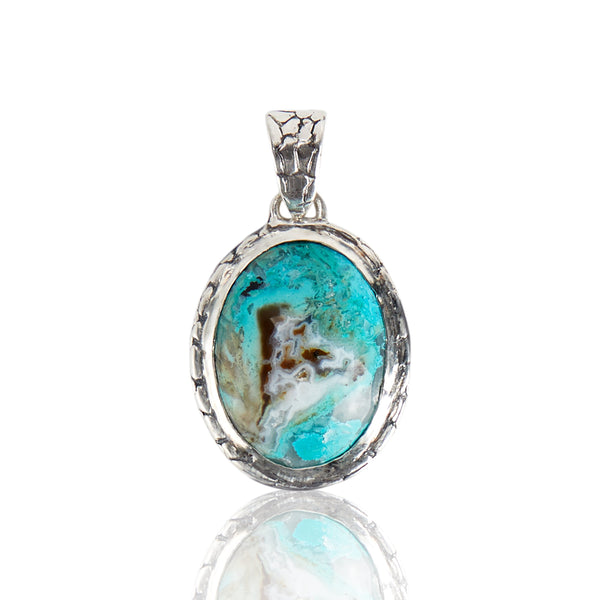 Sterling Silver Chrysocolla Ostrich Pendant