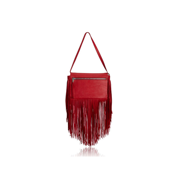 Queen Victoria Red Deer Fringe Crossbody with Black Amethyst Druzy