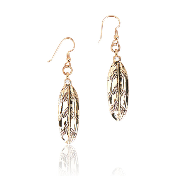 Small Owl Feather Earrings-14k Gold with .10 carat round cut diamonds