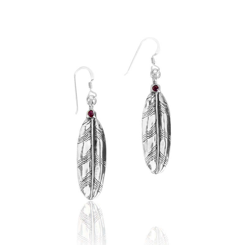 Owl Small Feather Earrings with Stones