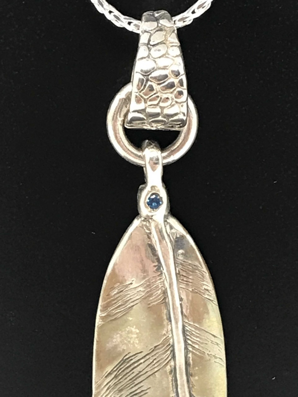 Owl Feather Small Sterling Silver Pendant-with a 3mm Stone