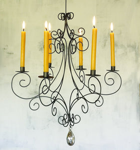 Wire Chandelier for Taper Candles - Rust