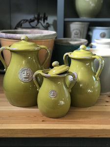 Kew Distressed Lidded Vases Rustic Green - Medium