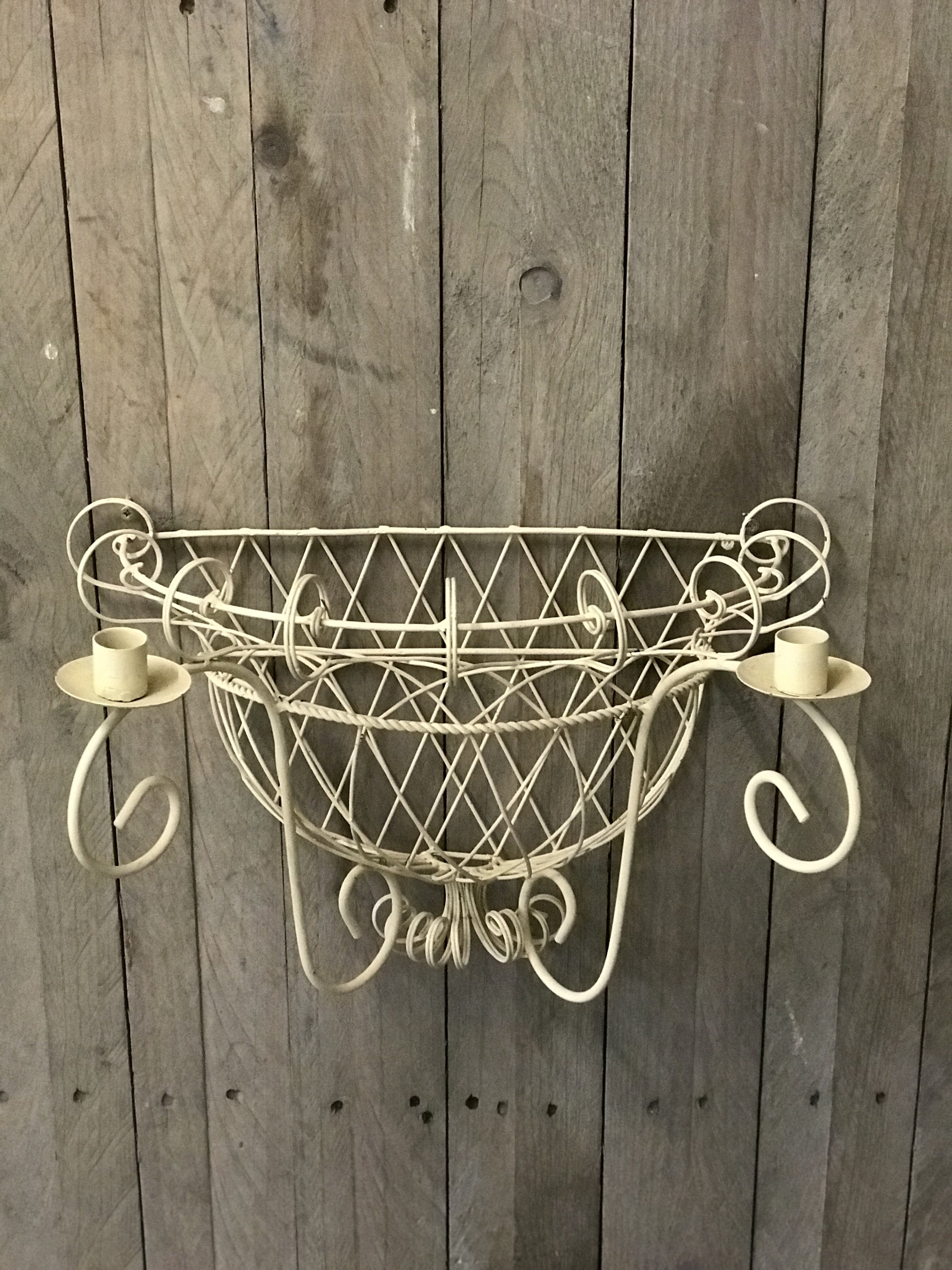 Cream Wire Planter / Candle Sconce