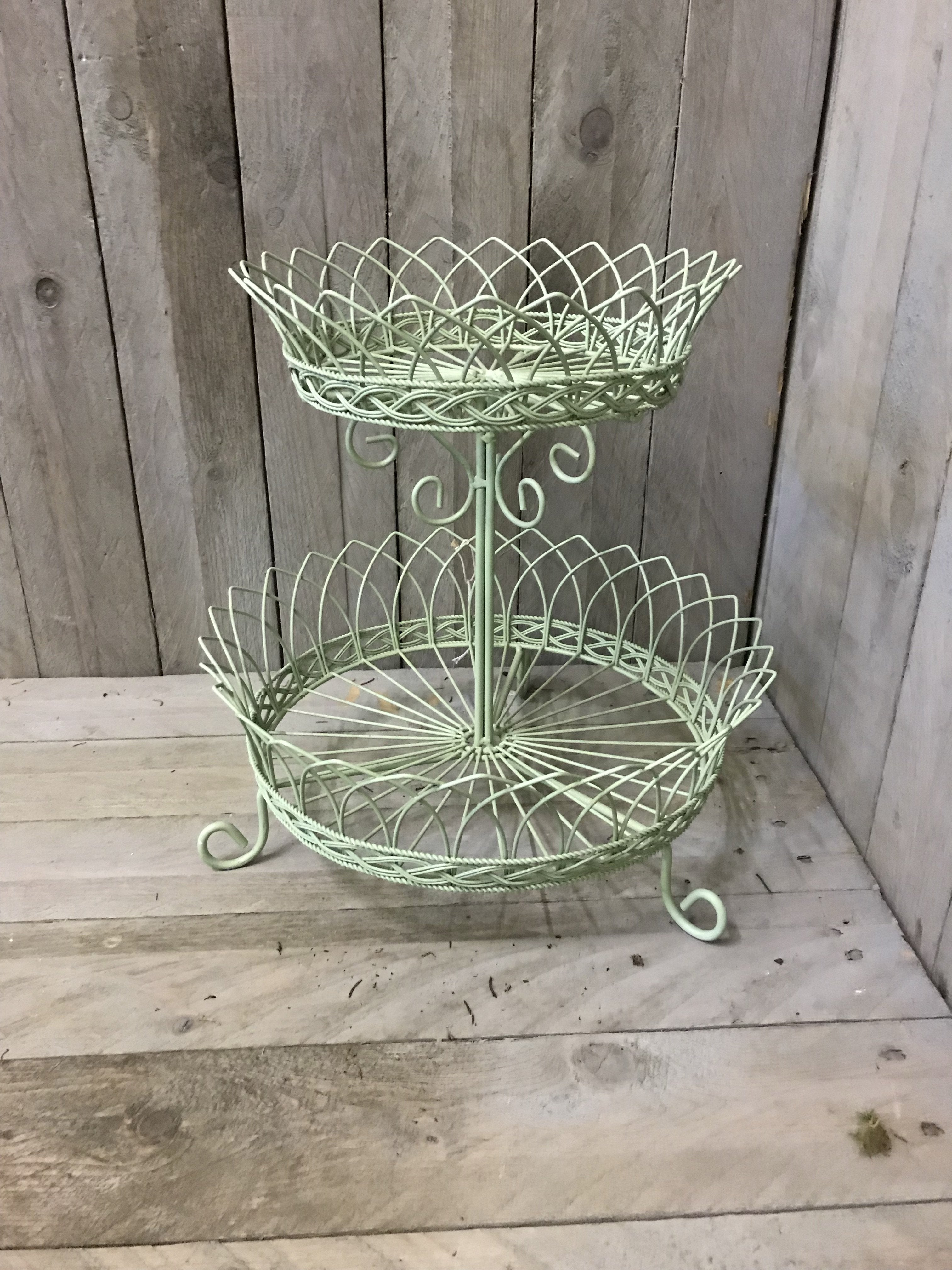 Two Tier Wire Basket - Pale Green