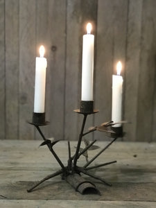 Leaf Design 3 Candle Iron Holder
