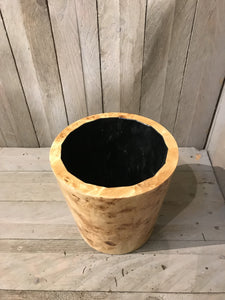 Large Round Design Lacquered Pale Wooden Cachepot