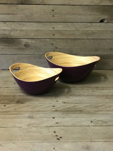 Set of 2 Oval Bamboo Bowls - Aubergine