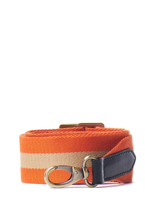 O MY BAG - Orange Webbing Strap with Black Classic Leather (adjustable) Stromboli Black