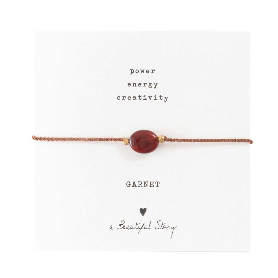 a beautiful story - Gemstone Card Garnet goldfarben Armband