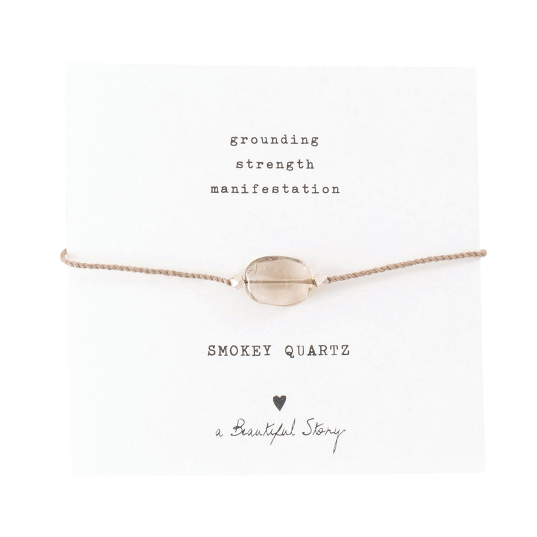 a beautiful story - Gemstone Card Smokey Quartz Silver Armband