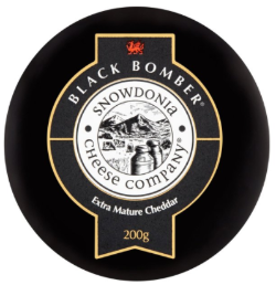 200g of Black Bomber Extra Mature Cheddar, produced by the Snowdonia cheese company and sold by spence hall